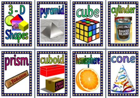Free Printable 3D Shapes in Everyday Life Maths posters for classroom display