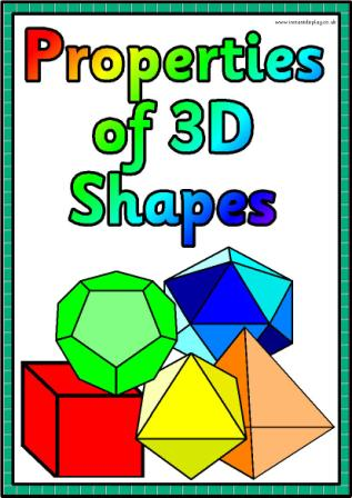 Printable Properties of 3D shapes posters for classroom display.
