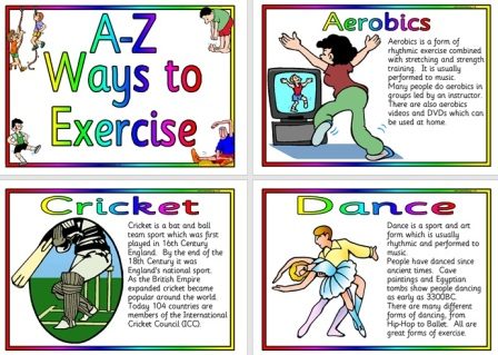 Free Printable A-Z of Exercise Posters
