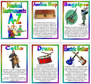 Free Printable A-Z of Musical Instruments Posters