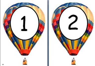 Free printable 1 to 20 on hot air balloons