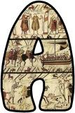 Free printable Bayeux Tapestry background lettering sets for Classroom display.  1066 the Normans, Battle of Hastings lettering sets