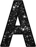 Shiny black glitter background free printable instant display lettering sets for classroom display, scrapbooking etc.