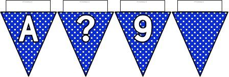 Free printable Blue Polka Dot Bunting, A-Z, ?!&, numbers 0-9 and a blank flag all in one file.  Click image to download.