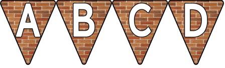 Free Printable Bunting for Classroom Display. Lettering, Number and blank Brick Wall bunting flags included.