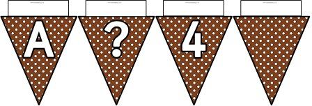 Free printable Brown Polka Dot Bunting, A-Z, ?!&, numbers 0-9 and a blank flag all in one file.  Click image to download.