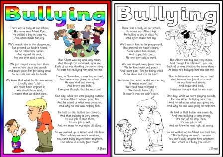 Worksheet Printable Bully Story For Kids personal health and social education free low cost posters poems displays more