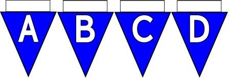 Free Printable Bunting for Classroom Display. Lettering, Number and blank Blue bunting flags included.