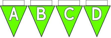 Free Printable Bunting for Classroom Display. Lettering, Number and blank Light Green bunting flags included.