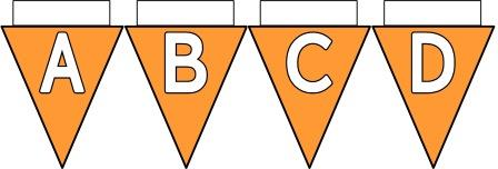 Free Printable Bunting for Classroom Display. Lettering, Number and blank Orange bunting flags included.