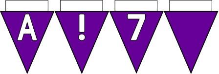 Free Printable Bunting for Classroom Display. Lettering, Number and blank Purple bunting flags included.