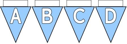 Free Printable Bunting for Classroom Display. Lettering, Number and blank Sky Blue bunting flags included.