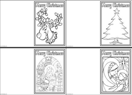 free colour in christmas cards just print fold and decorate