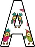 Cartoon Owls background printable display letters lettering sets