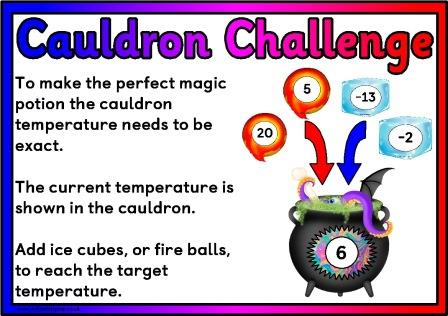 Free Maths Interactive Display, Cauldron Challenge, children add, subtract, multiply or divide to achieve target numbers.