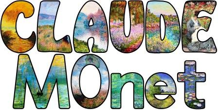 Free printable Claude Monet display lettering sets for classroom bulletin board display.