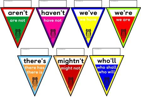 Free printable Contractions Bunting.  Includes 51 common contractions.  Print the whole set or just those you need for your class.