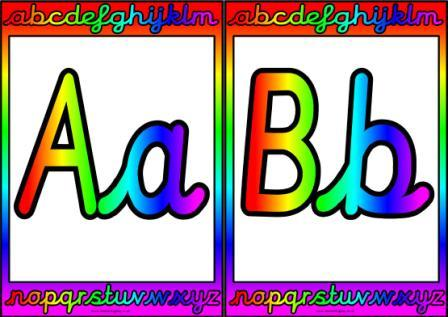 Free colourful cursive alphabet posters. These posters were created ...