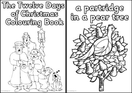 free printable the twelve days of christmas colouring book