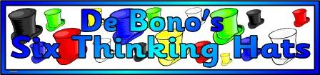 Free printable De Bono's Thinking Hats classroom display banner.