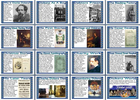Free printable Charles Dickens Biography for children.  Free teaching resources, classroom display.
