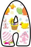 Free printable Cute Easter background instant display lettering sets featuring Easter baskets, Easter Eggs, Easter Bunny and Chicks.