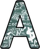 Free printable Business Studies and Economics backgrounds digital lettering sets for display.
