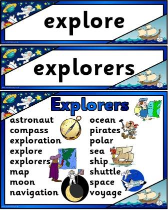 Free printable explorers for KS1 vocabulary cards and word mat