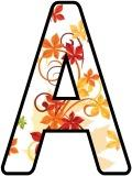 Free printable instant display lettering sets with a Fall, Autumn Leaves background.