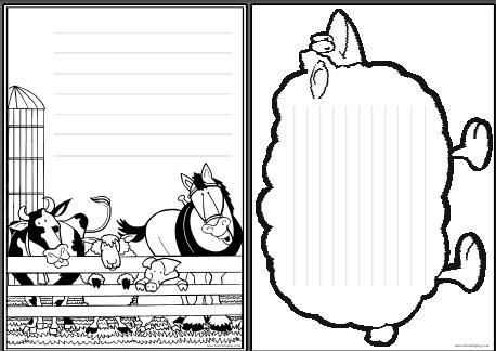 On the farm printable page borders. 5 black and white borders with ...