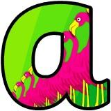 Flamingo background free printable display letters