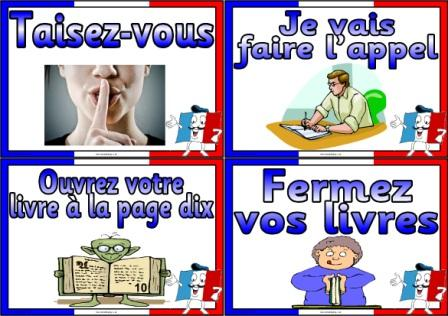 Free printable French Classroom commands posters for MFL display boards