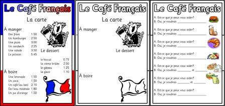 free printable french menu mfl teaching resource. Black Bedroom Furniture Sets. Home Design Ideas