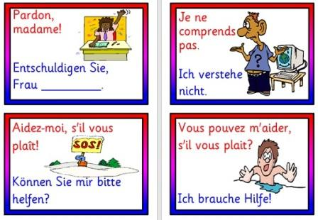 Free Printable French and German Vocabulary Cards