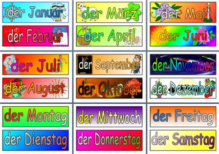 MFL German Resources - Months of the Year and Days of the Week posters