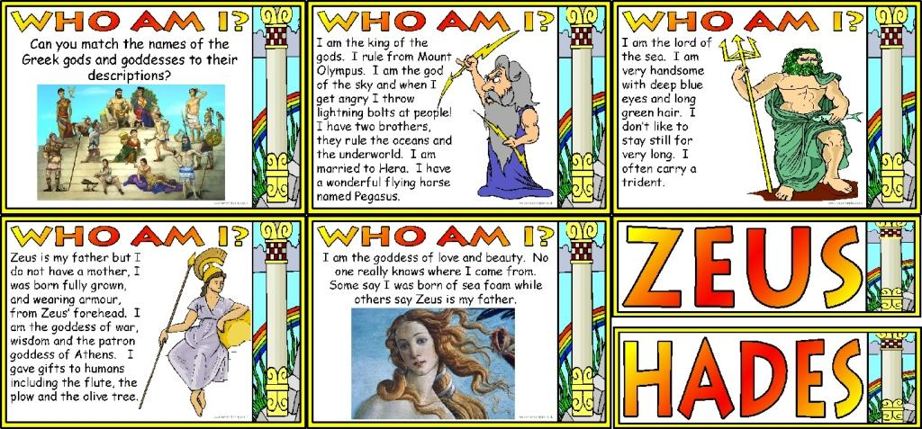 Greek Gods and Goddesses History Printable Posters £2.00 per set