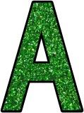 Free printable Green Glitter background instant display lettering sets for classroom bulletin boards.  Great for Christmas