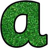 Free printable Green Glitter background instant display alphabet sets for classroom bulletin boards.  Great for Christmas