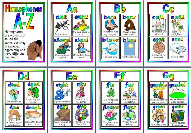 Free printable A-Z of homophones.  Four homophones per page.  Matching game reading, writing, english.