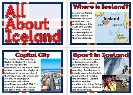 Set of printable posters, All About Iceland, Geography Teaching Resource