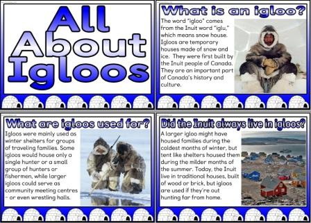 Set of posters all about igloos for classroom display