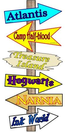 Where Will Reading Take You Today? Free printable imaginary worlds classroom display set.  Includes signs for Atlantis, Badger's House, Camp Half-blood, Discworld, Treasure Island, Hogwarts, Lilliput, Emerald City, Neverland, Rivendell, Ember, Inkworld, Cittagazze and Faraway Tree.