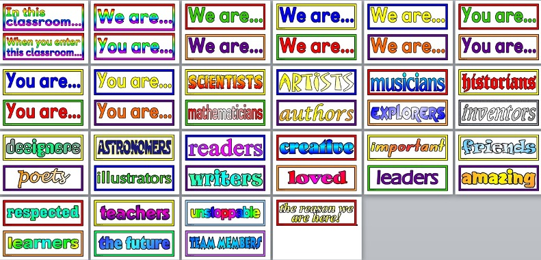 Free printable 'In this classroom/school you are...' display for primary classroom or whole school display.