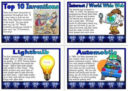 Set of printable posters showing the top 10 inventions of all time for display