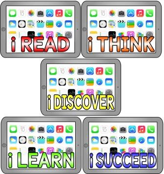 i READ, i THINK, i DISCOVER, i LEARN and i SUCCEED on ipad backgrounds.  Free printable classroom display set for bulletin boards.