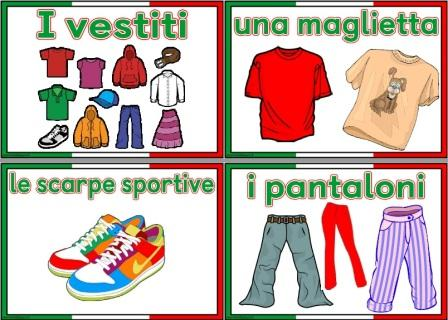 Free printable Italian Clothes vocabulary cards