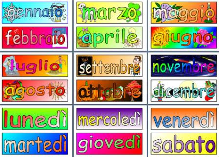 image about Printable Months of the Year named Weeks of the Calendar year and Times of the 7 days inside of Italian