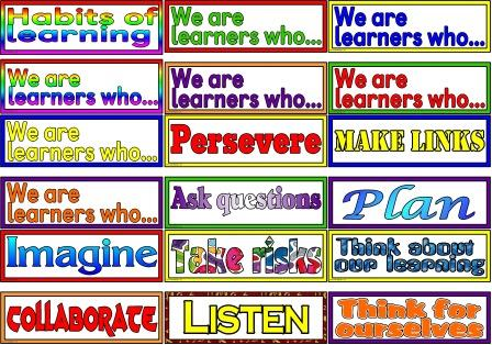 Habits of learning, We are learners who... Perservere, plan, ask questions, take risks, imagine, collaborate, listen, think for ourselves etc classroom display