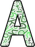 Green letters background free printable instant display lettering sets for classroom display.