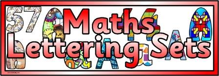 Free printable maths themed backgrounds digital lettering sets for classroom display, bulletin boards or scrapbooking
